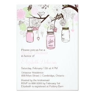 Pink and Green Mason Jars Bridal Shower Invitation