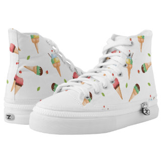 Pink and Green Mint Ice Cream Cones on White High-Top Sneakers