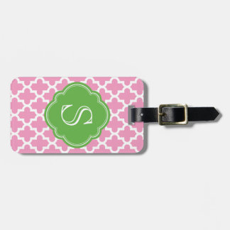 Pink and Green Modern Moroccan Custom Monogram Luggage Tag