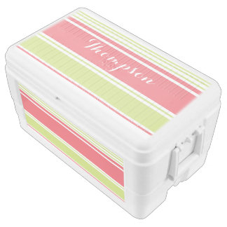 Pink and Green Modern Stripes Cooler