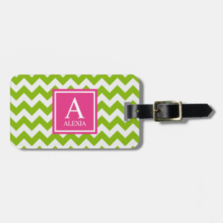 Pink and Green Monogram Chevron Print Bag Tag