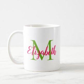 Pink and Green Monogram Coffee Mug