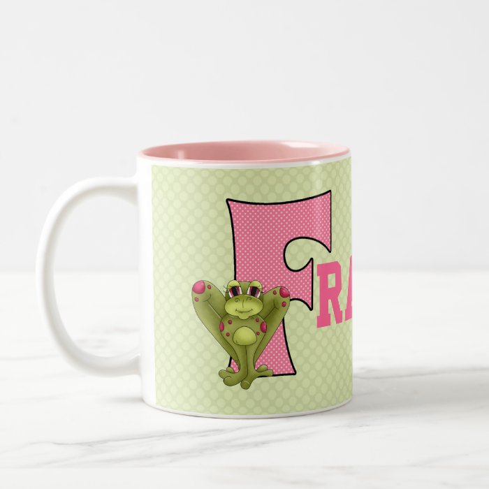 "Pink and Green Monogram ""F"" Kid's Mug"
