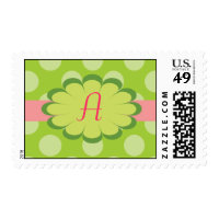 Pink and Green Monogram Postage