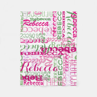 Pink and Green Name Collage Girl's Allover Print Fleece Blanket