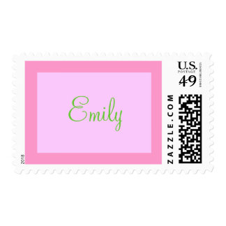pink and green name stamp