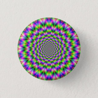 Pink and Green Neon Flower Button