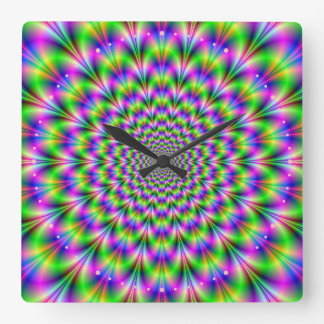 Pink and Green Neon Flower Wall Clock