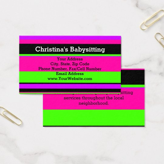 Pink and Green Neon Stripes TeenBabysitting Business Card