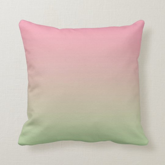 Pink And Green Ombre Throw Pillow Zazzle Com