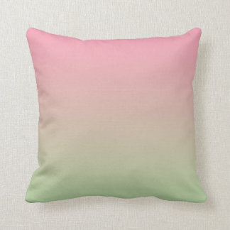 """Pink And Green Ombre"" Throw Pillow"