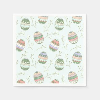 Pink and Green on Mint Pastel Easter Eggs Napkins