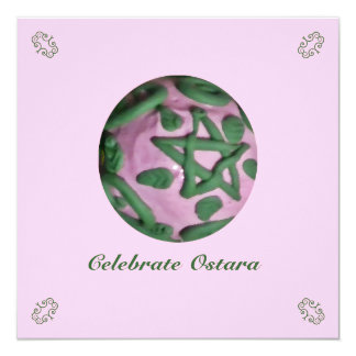 Pink and Green Ostara Spring Equinox Card