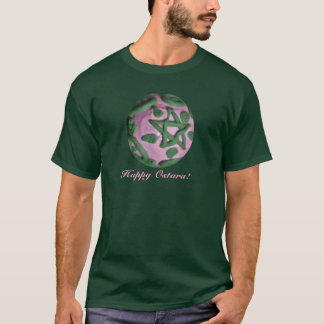 Pink and Green Ostara Spring Equinox Pentagram T-Shirt