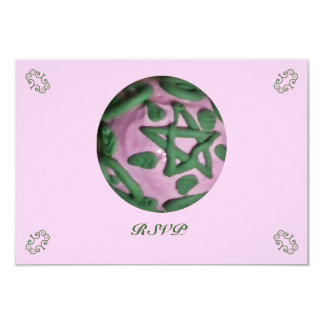 Pink and Green Ostara Spring Equinox RSVP Card