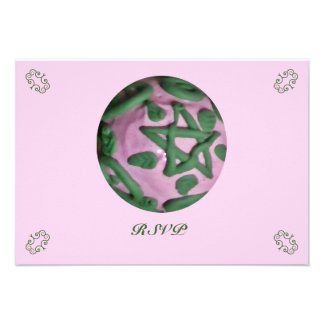 Pink and Green Ostara Spring Equinox RSVP Custom Announcements