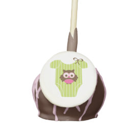 Pink and Green Owl Baby Outfit Baby Shower Cake Pops