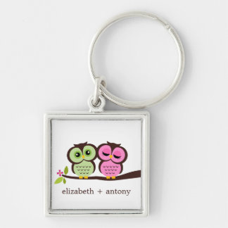 Pink and Green Owl Couple Keychain