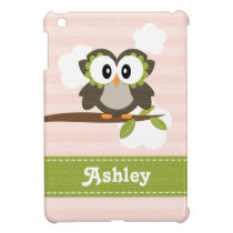 Pink and Green Owl iPad Mini Covers