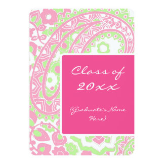 Pink and Green Paisley Graduation Party Card
