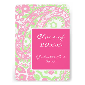 Pink and Green Paisley Graduation Party Personalized Invitation