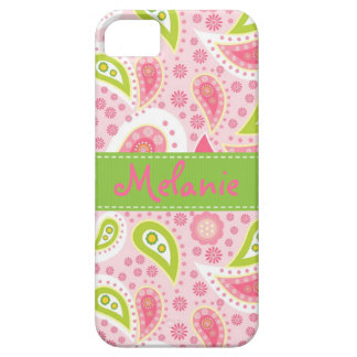 Pink and Green Paisley iPhone Monogram Custom iPhone SE/5/5s Case