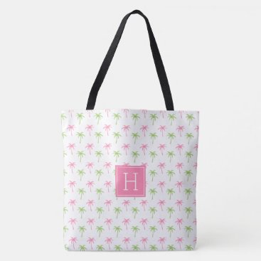 Beach Themed Pink and Green Palm Trees Pattern Tote Bag