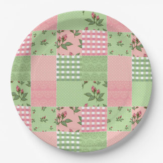 Pink and Green Patchwork Quilt Pattern Paper Plate