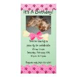 Pink and Green Paw Print Birthday Invitation Photo Greeting Card