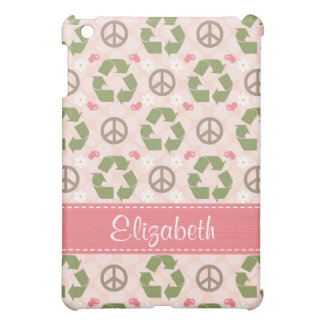 Pink and Green Peace Love Recycle  iPad Mini Covers
