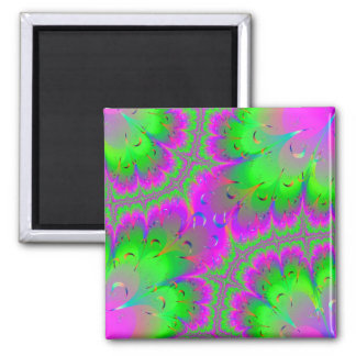 Pink and Green Peacock Tails 2 Inch Square Magnet