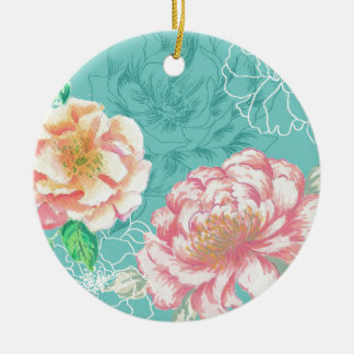 Pink and green peony floral ceramic ornament