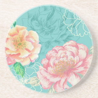 Pink and green peony floral coaster