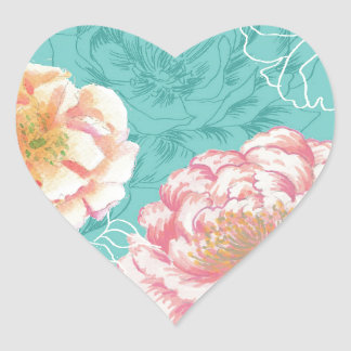 Pink and green peony floral heart sticker