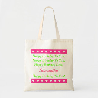 Pink and Green Personalized Happy Birthday Song Tote Bag