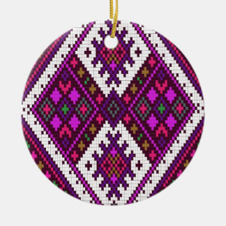 Pink and green Pixel pattern..a spring MUST have! Double-Sided Ceramic Round Christmas Ornament
