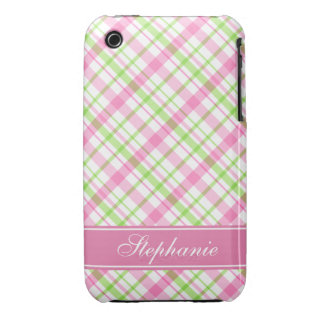 Pink and Green Plaid Pattern iPhone 3 Covers