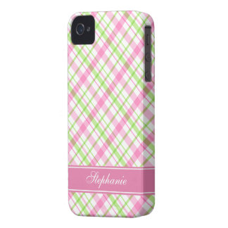 Pink and Green Plaid Pattern iPhone 4 Case
