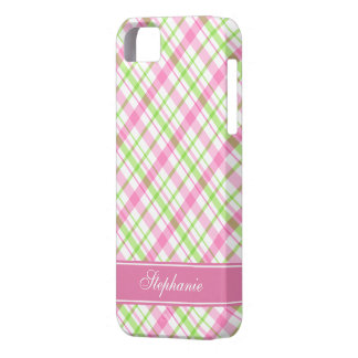 Pink and Green Plaid Pattern iPhone SE/5/5s Case