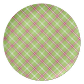 Pink and Green Plaid Dinner Plate