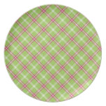 Pink and Green Plaid Plates