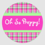 Pink and Green Plaid Preppy Sticker