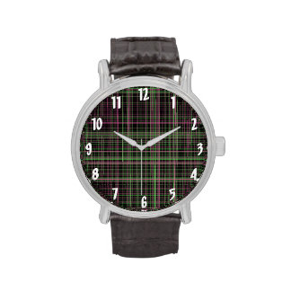 Pink and Green Plaid Watch