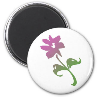 Pink and Green Poetica Flower 2 Inch Round Magnet