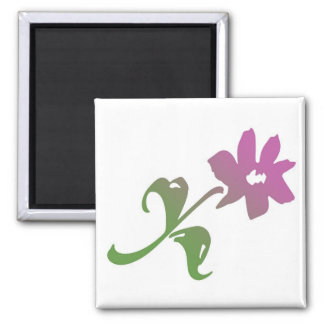 Pink and Green Poetica Flower 2 Inch Square Magnet