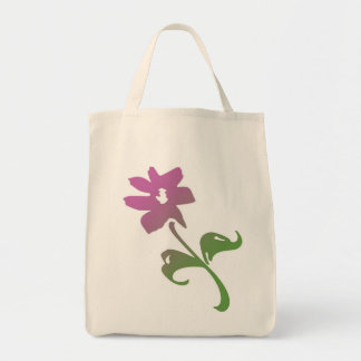 Pink and Green Poetica Flower Canvas Bags