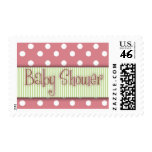Pink and green polka dot Baby Shower Stamps