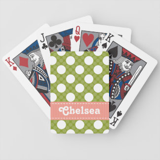 Pink and Green Polka Dot Bicycle® Playing Cards