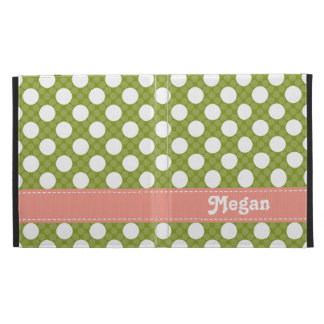 Pink and Green Polka Dot iPad Folio Case Cover
