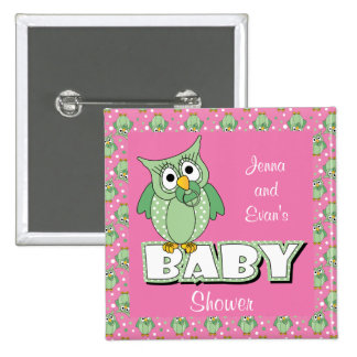 Pink and Green Polka Dot Owl | Baby Shower Theme Pinback Button